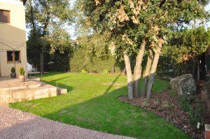 Jardín sostenible con césped natural