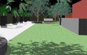 Diseño 3D- Zona de césped, piedra decorativa y jardineras