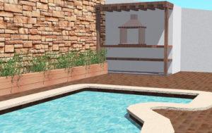 Diseño 3D- Piscina, pavimento y rocalla
