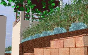 Diseño 3D - Jardín con desniveles